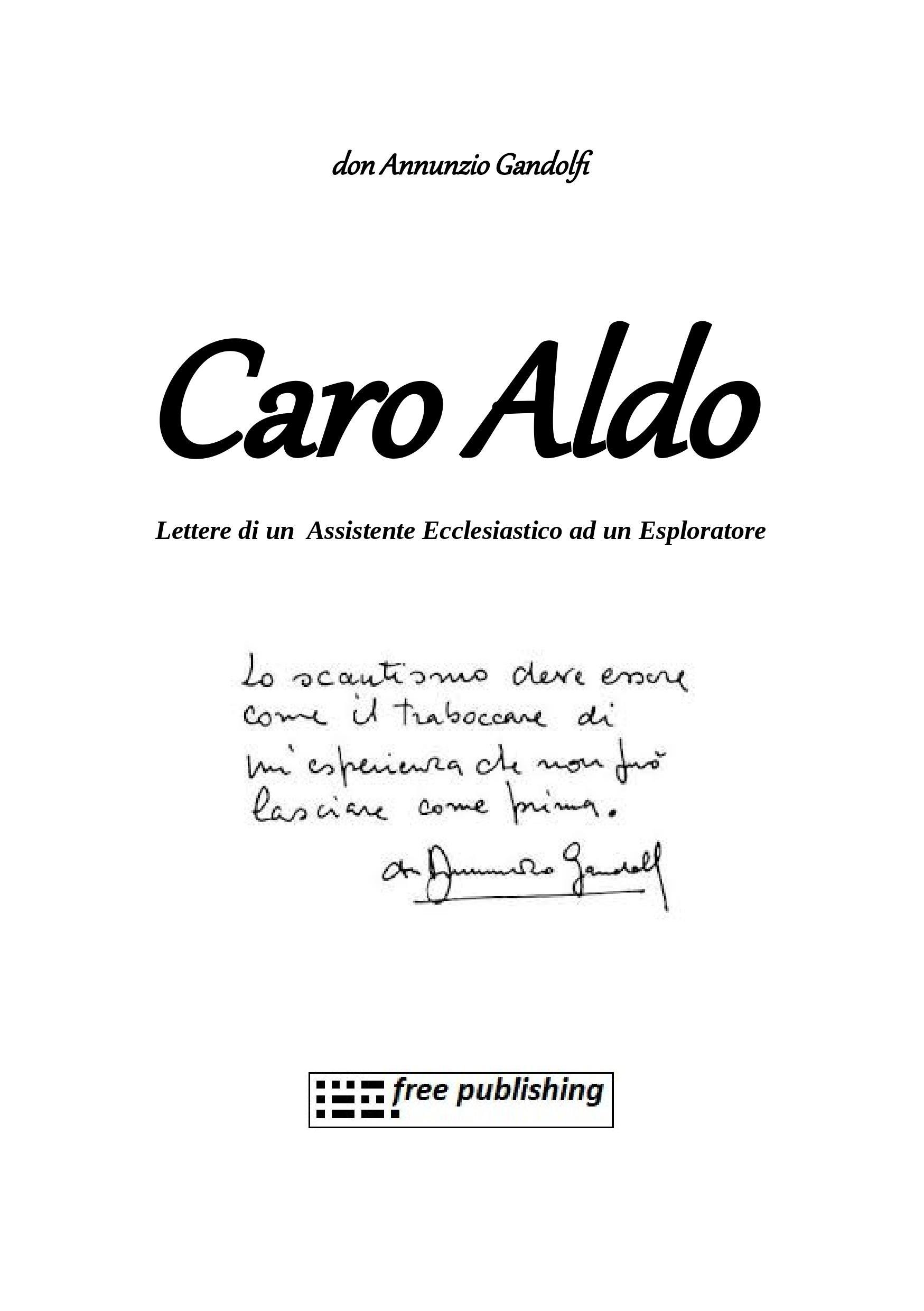 Caro Aldo…lettere di un assistente ecclesiastico ad un esploratore